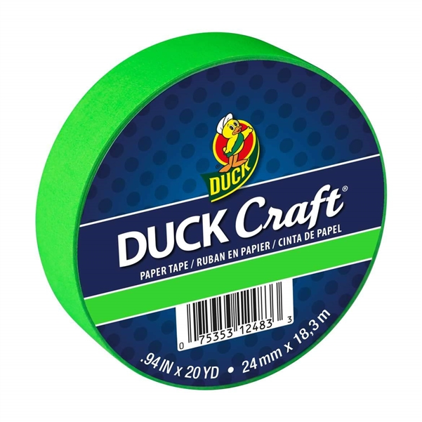 Neon Green Duck Brand Color Masking Tape 0.94 in. x 20 yard Roll