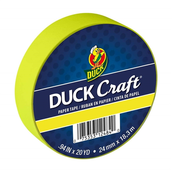 Neon Yellow Duck Brand Color Masking Tape 0.94 in. x 20 yard Roll